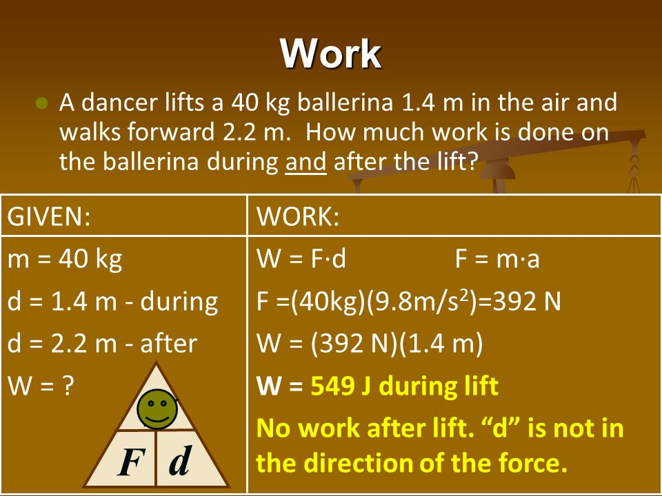 Work A dancer lifts a 40 kg ballerina 1.4 m in the air and walks forward 2.2 m. How much work is done on the ballerina during and after the lift? GIVE