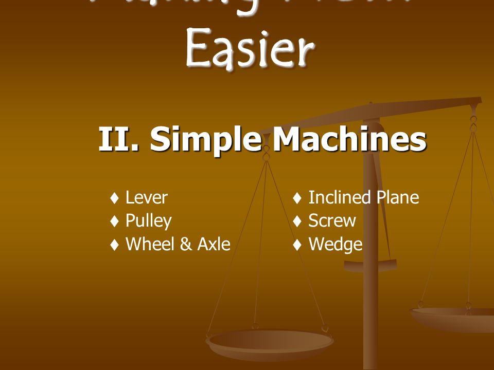 Making Work Easier II. Simple Machines  Lever  Pulley  Wheel & Axle  Inclined Plane  Screw  Wedge