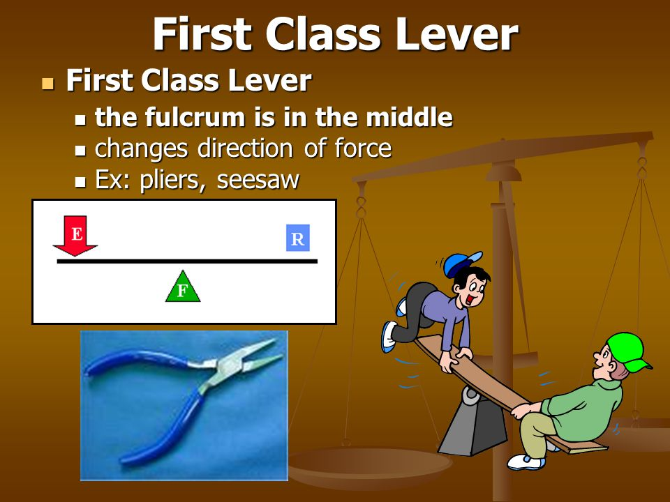 First Class Lever First Class Lever First Class Lever the fulcrum is in the middle the fulcrum is in the middle changes direction of force changes dir