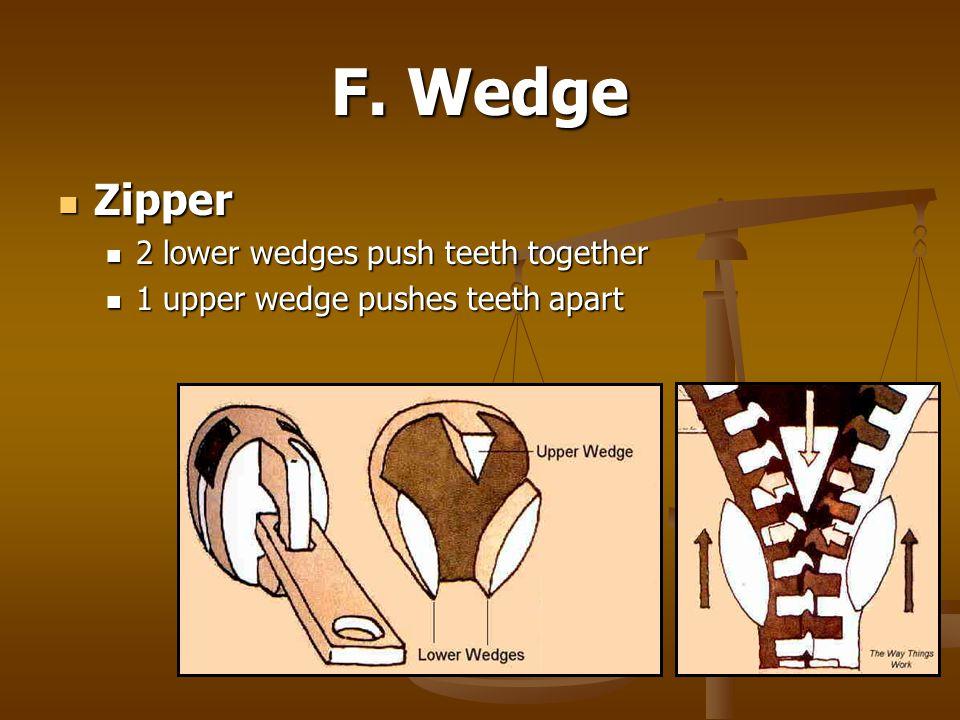 F. Wedge Zipper Zipper 2 lower wedges push teeth together 2 lower wedges push teeth together 1 upper wedge pushes teeth apart 1 upper wedge pushes tee
