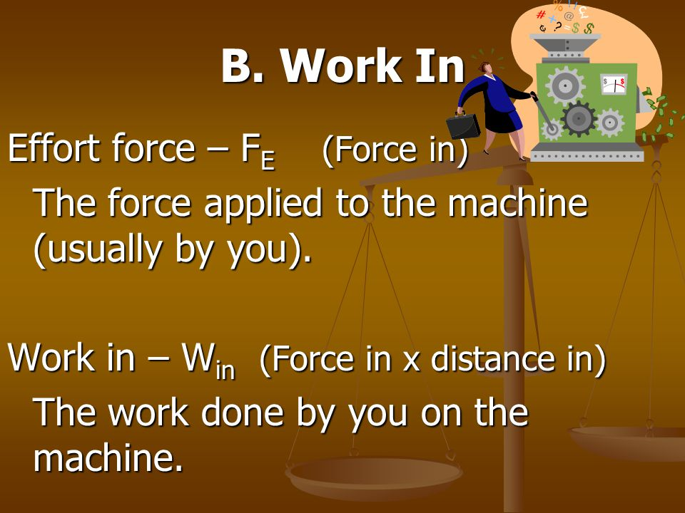 B. Work In Effort force – F E (Force in) The force applied to the machine (usually by you). Work in – W in (Force in x distance in) The work done by y