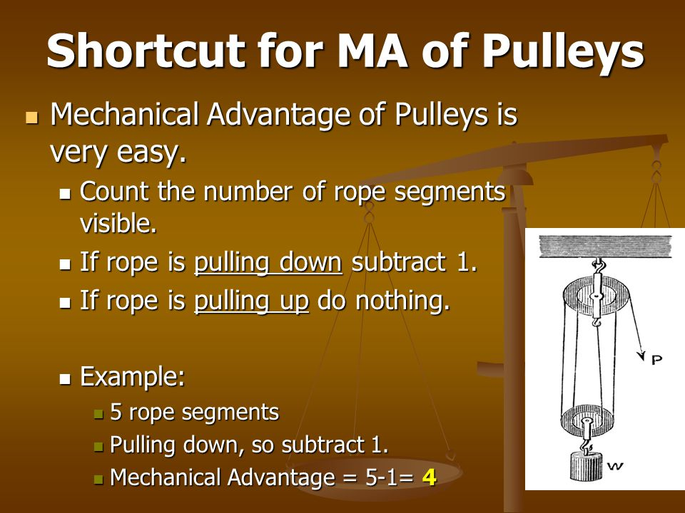 Shortcut for MA of Pulleys Mechanical Advantage of Pulleys is very easy. Mechanical Advantage of Pulleys is very easy. Count the number of rope segmen