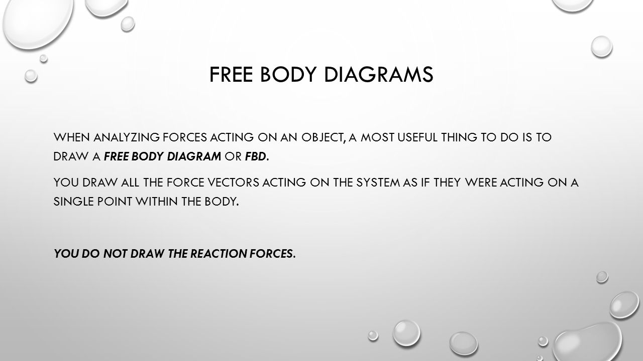  TYPICAL STATIC PROBLEM REGARDING REACTION FORCES… IT IS IMPORTANT TO REALIZE THAT THE NORMAL FORCE IS NOT THE REACTION FORCE TO THE OBJECT'S WEIGHT.