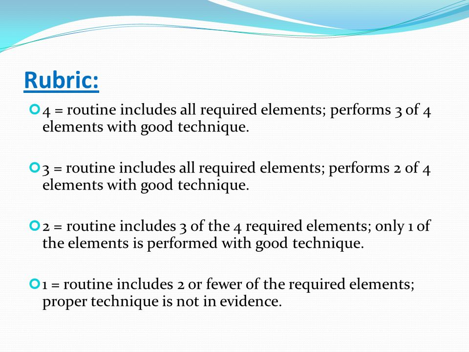 Rubric: 4 = routine includes all required elements; performs 3 of 4 elements with good technique.