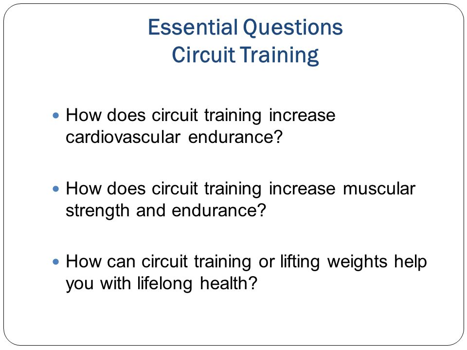 Additional Circuit Training Equipment You May Have Access To and Incorporate In The Workout May Include : Core Balls Balance Equipment Weighted Balls Jump Ropes Low Hurdles Weighted Balls Hop Sports Videos Yoga Mats