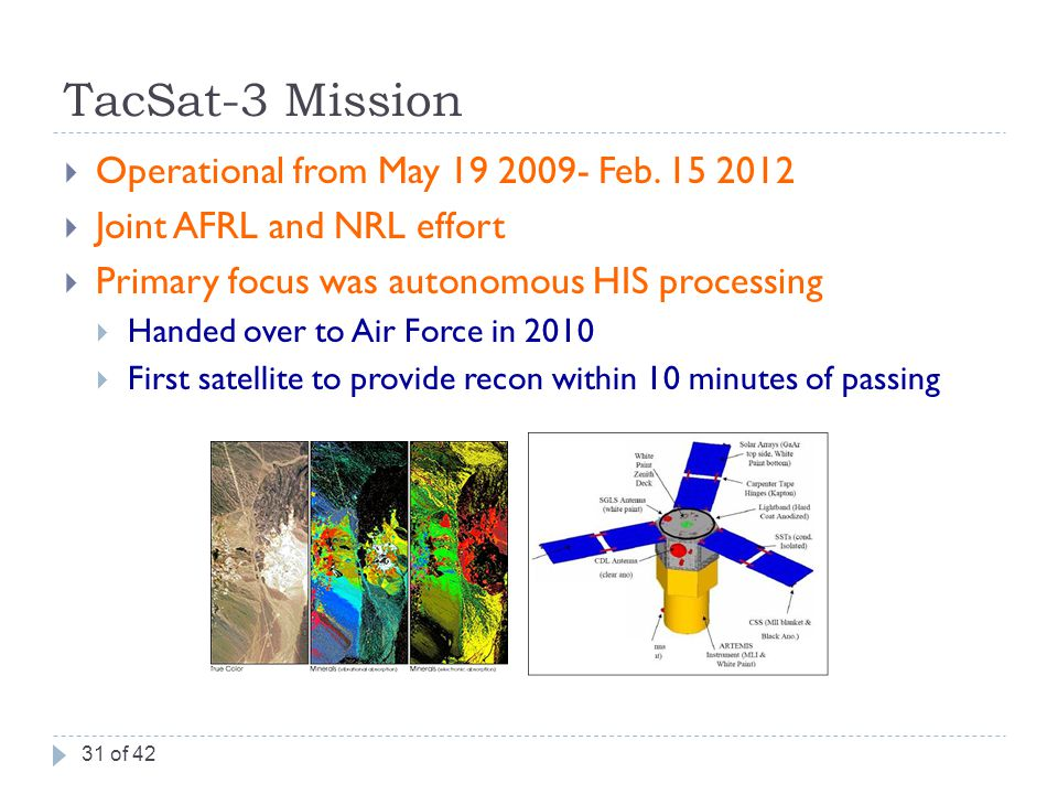 TacSat-3 Mission  Operational from May 19 2009- Feb.