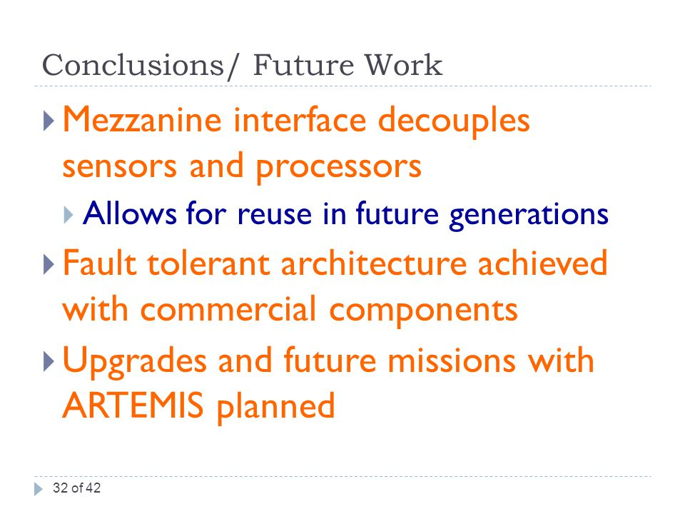 Conclusions/ Future Work  Mezzanine interface decouples sensors and processors  Allows for reuse in future generations  Fault tolerant architecture achieved with commercial components  Upgrades and future missions with ARTEMIS planned 32 of 42