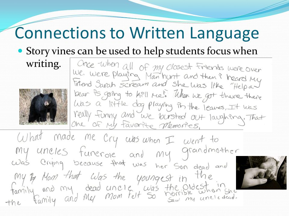 Connections to Written Language Story vines can be used to help students focus when writing.