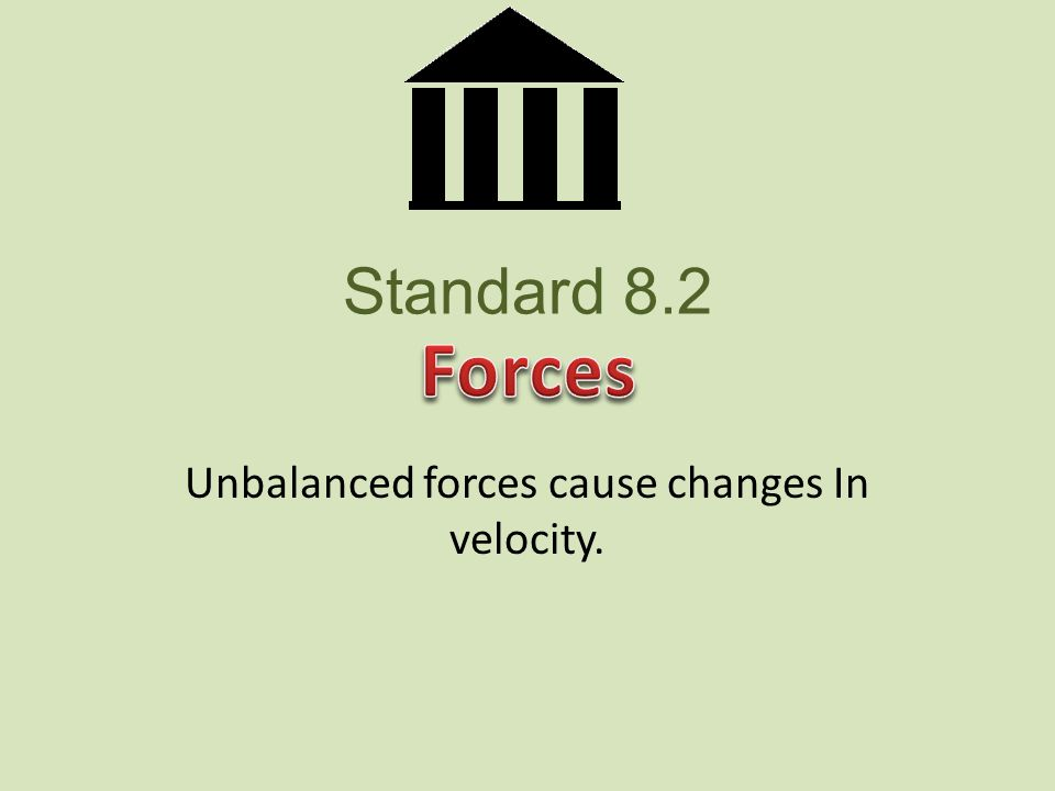 Standard 8.2 Unbalanced forces cause changes In velocity.