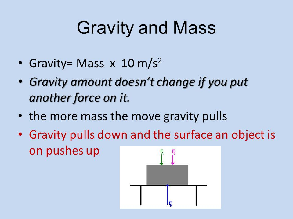 Gravity and Mass Gravity= Mass x 10 m/s 2 Gravity amount doesn't change if you put another force on it. Gravity amount doesn't change if you put anoth