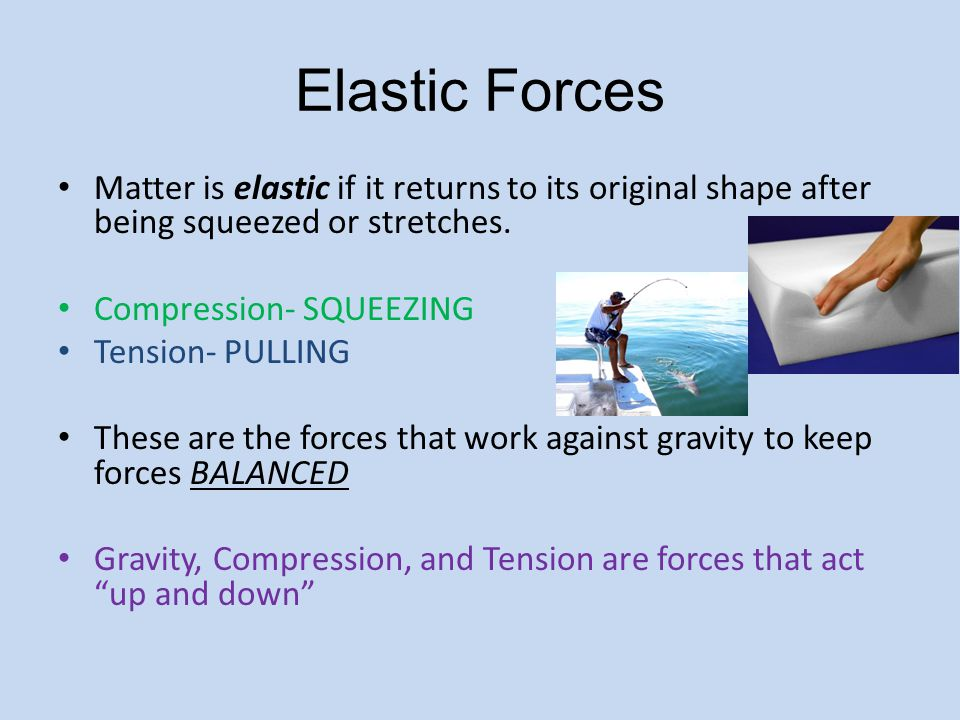 Elastic Forces Matter is elastic if it returns to its original shape after being squeezed or stretches.