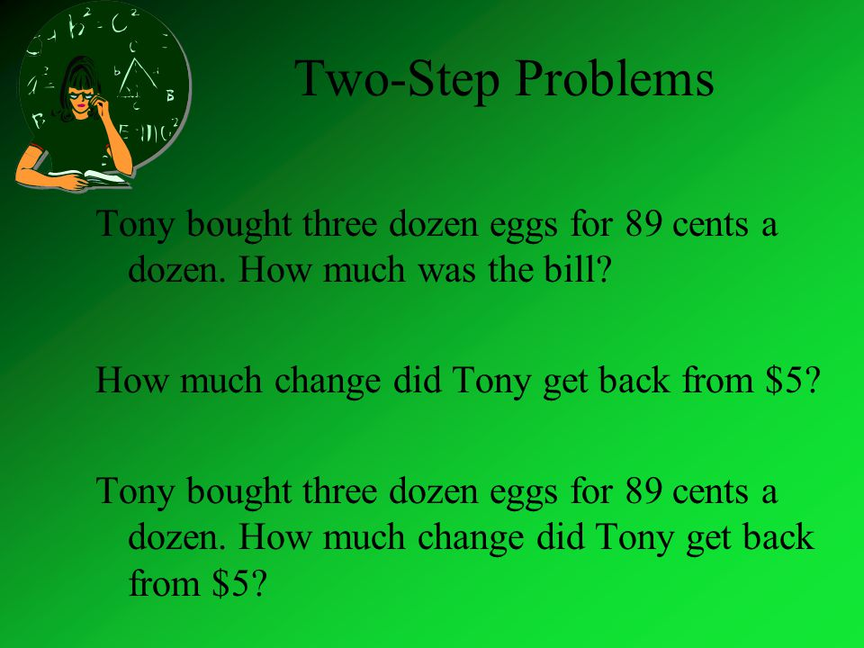 Two-Step Problems Tony bought three dozen eggs for 89 cents a dozen.