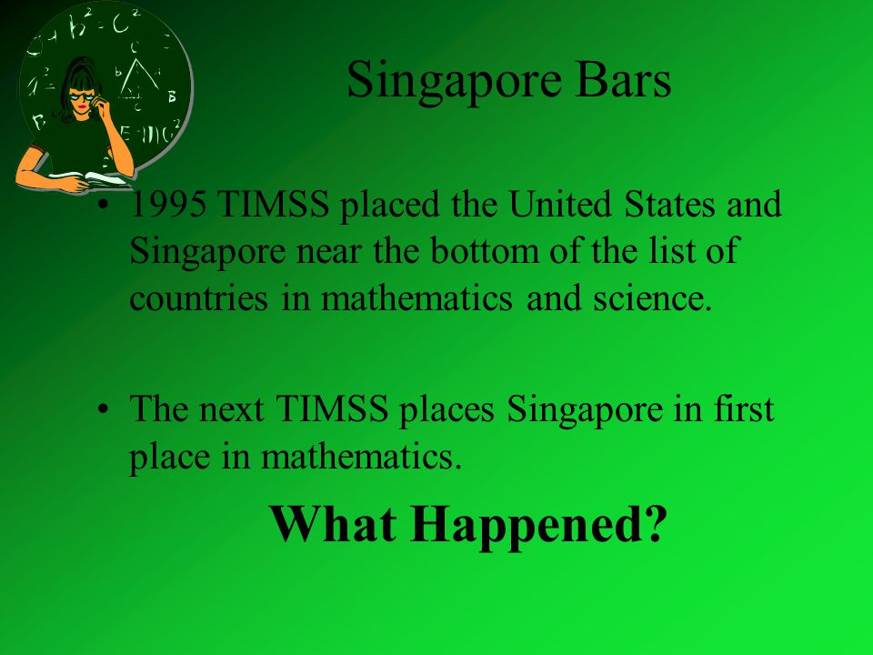 Singapore Bars 1995 TIMSS placed the United States and Singapore near the bottom of the list of countries in mathematics and science.