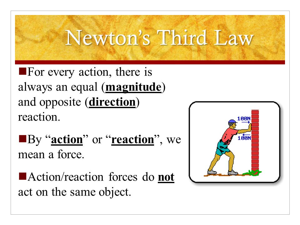 Newton's Third Law Action-Reaction Law Two forces that make up an interaction pair of forces are equal in magnitude, but opposite in direction and act