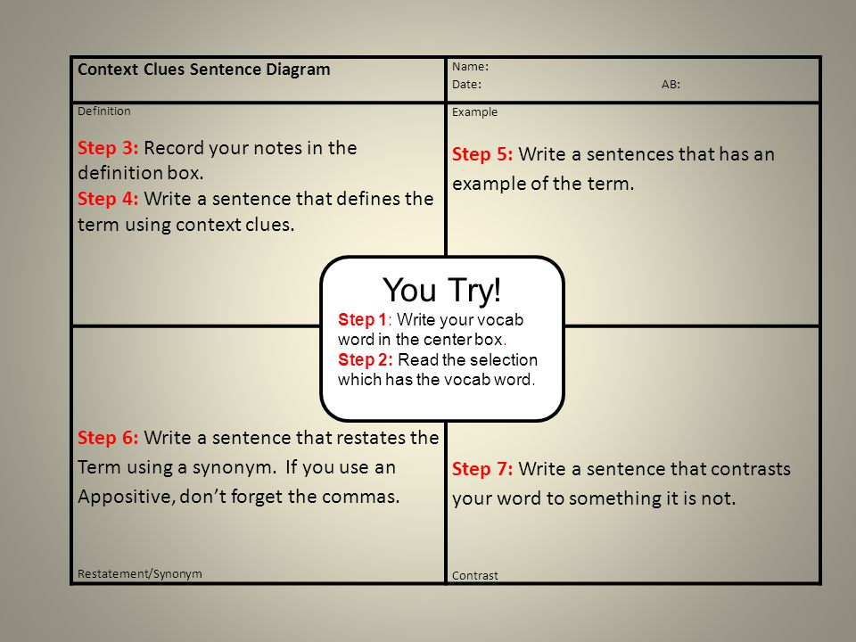 Context Clues Sentence Diagram Name: Date: AB: Definition Step 3: Record your notes in the definition box. Step 4: Write a sentence that defines the t