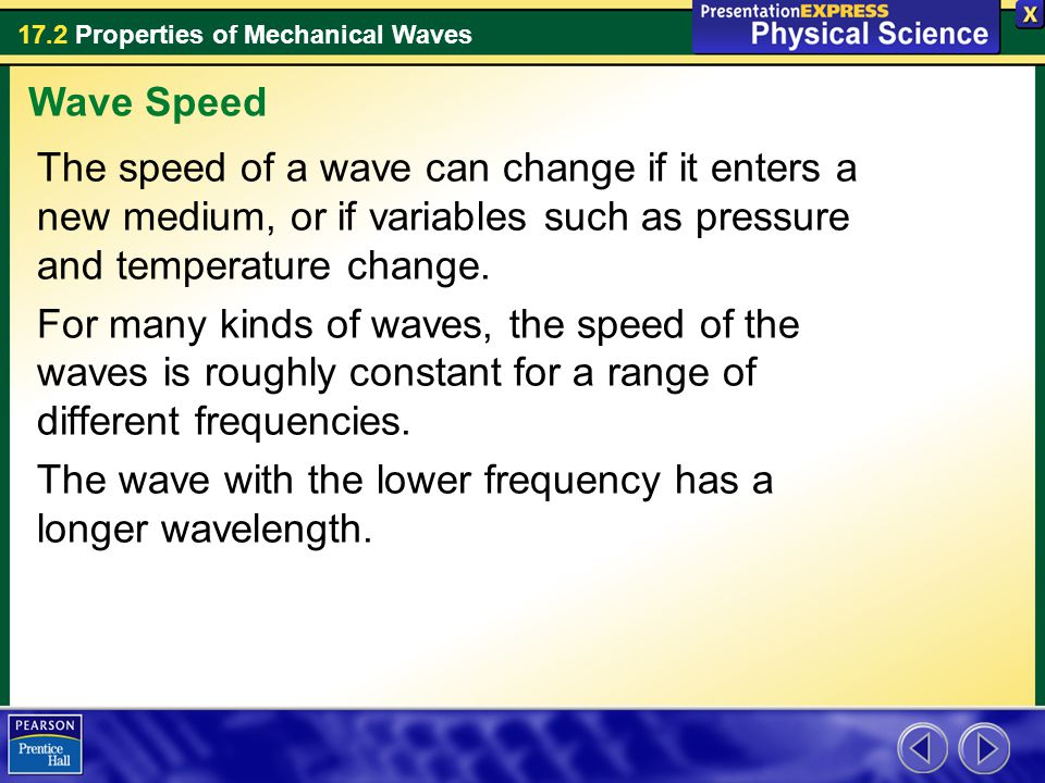 17.2 Properties of Mechanical Waves The speed of a wave can change if it enters a new medium, or if variables such as pressure and temperature change.