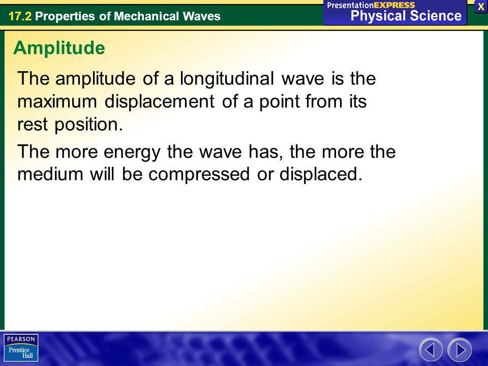 17.2 Properties of Mechanical Waves The amplitude of a longitudinal wave is the maximum displacement of a point from its rest position. The more energ