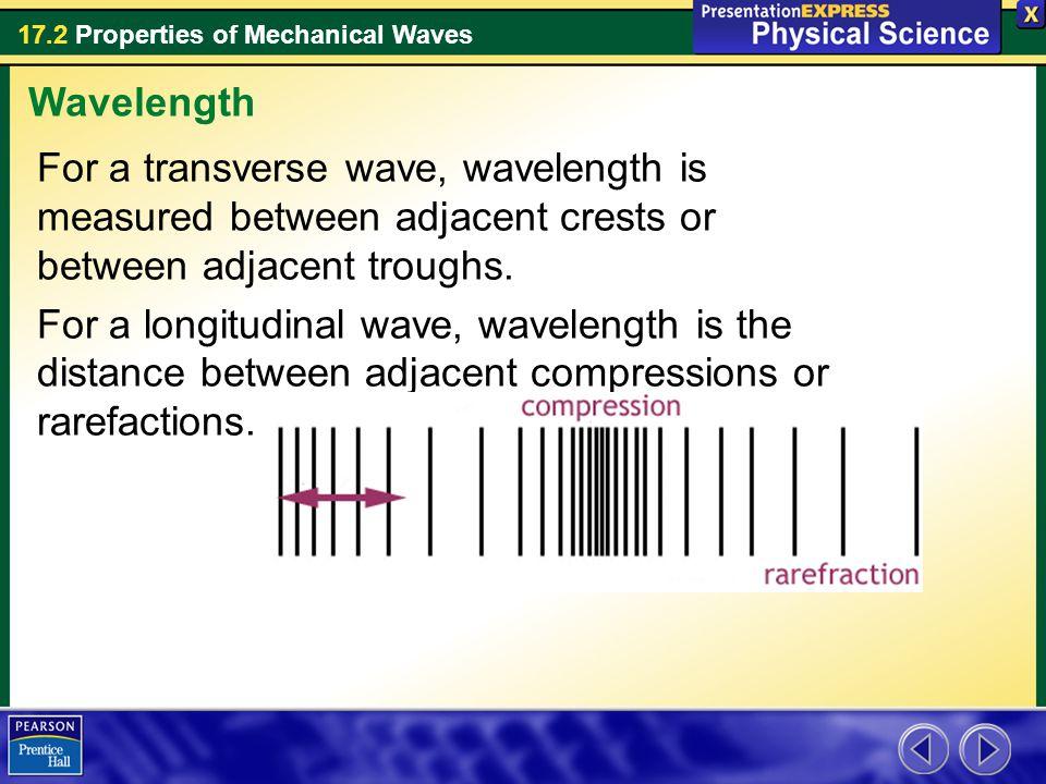For a transverse wave, wavelength is measured between adjacent crests or between adjacent troughs. For a longitudinal wave, wavelength is the distance