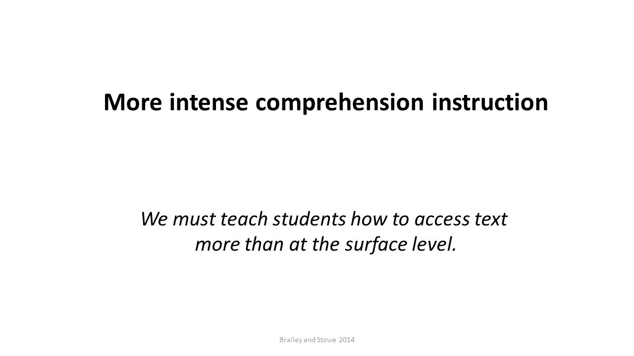 Brailey and Stowe 2014 More intense comprehension instruction We must teach students how to access text more than at the surface level.