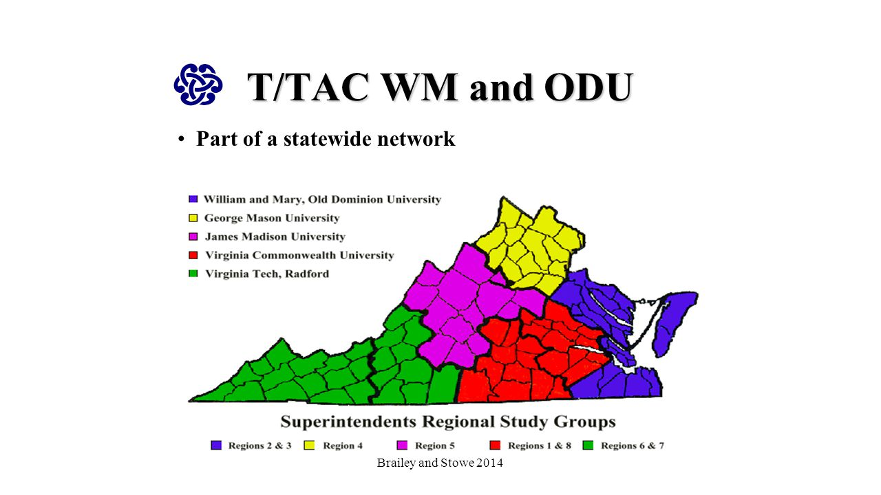 T/TAC WM and ODU Provides services to increase the capacity of educational professionals to improve outcomes for students with disabilities (access and success in inclusive programs) Primary focus on schools in need of improvement under state and federal accountability systems http://ttacwm.blogs.wm.edu/vdoe-instructional-resources-that- support-the-written-taught-and-tested-curriculum-in-english- and-math/ Brailey and Stowe 2014