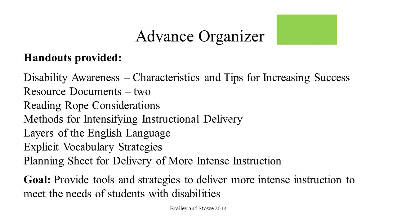 Advance Organizer Handouts provided: Disability Awareness – Characteristics and Tips for Increasing Success Resource Documents – two Reading Rope Cons