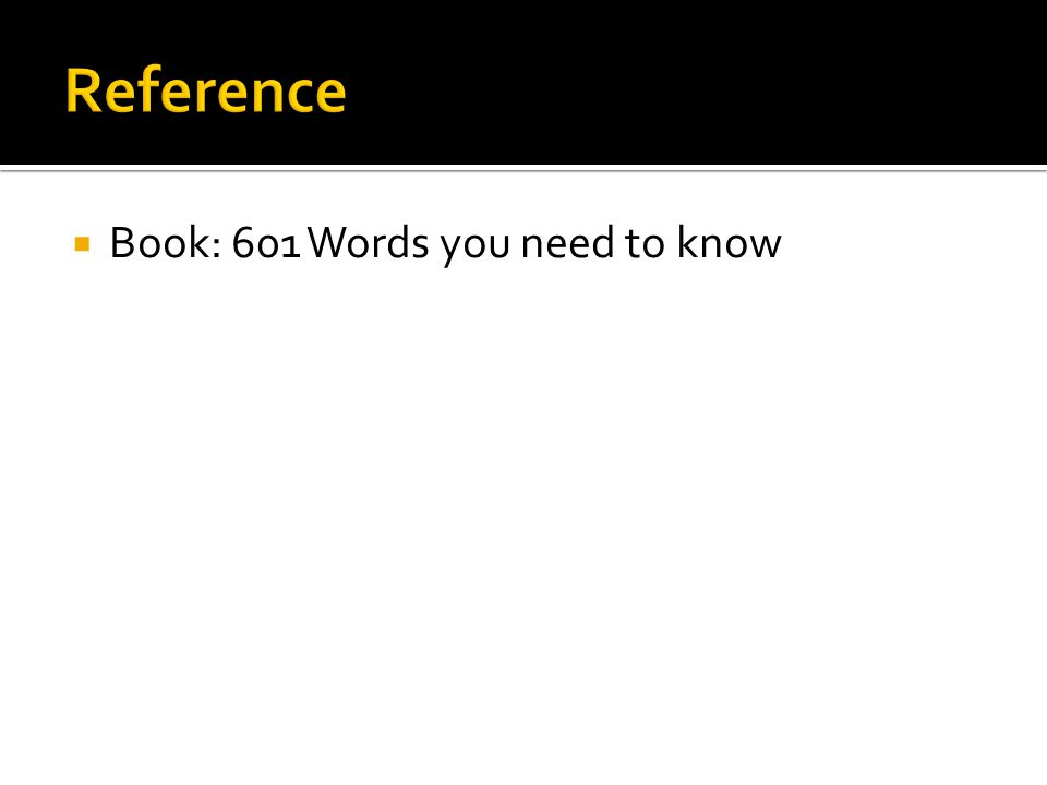  Book: 601 Words you need to know
