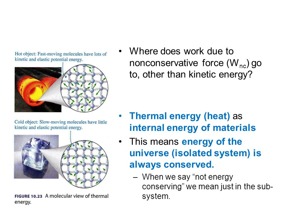Where does work due to nonconservative force (W nc ) go to, other than kinetic energy? Thermal energy (heat) as internal energy of materials This mean