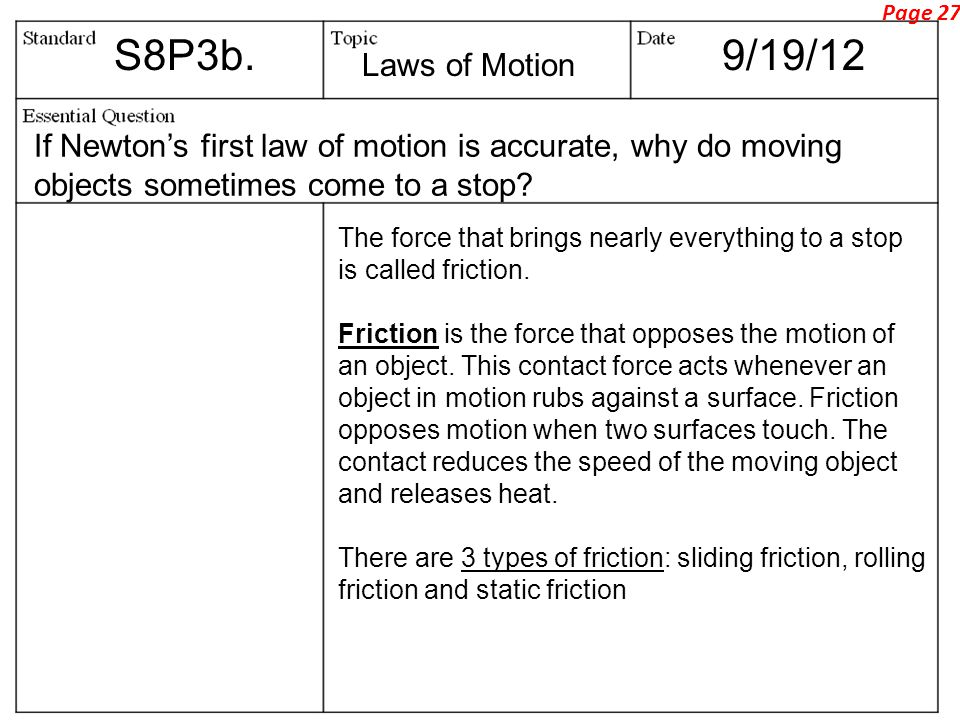 S8P3b.9/19/12 If Newton's first law of motion is accurate, why do moving objects sometimes come to a stop.