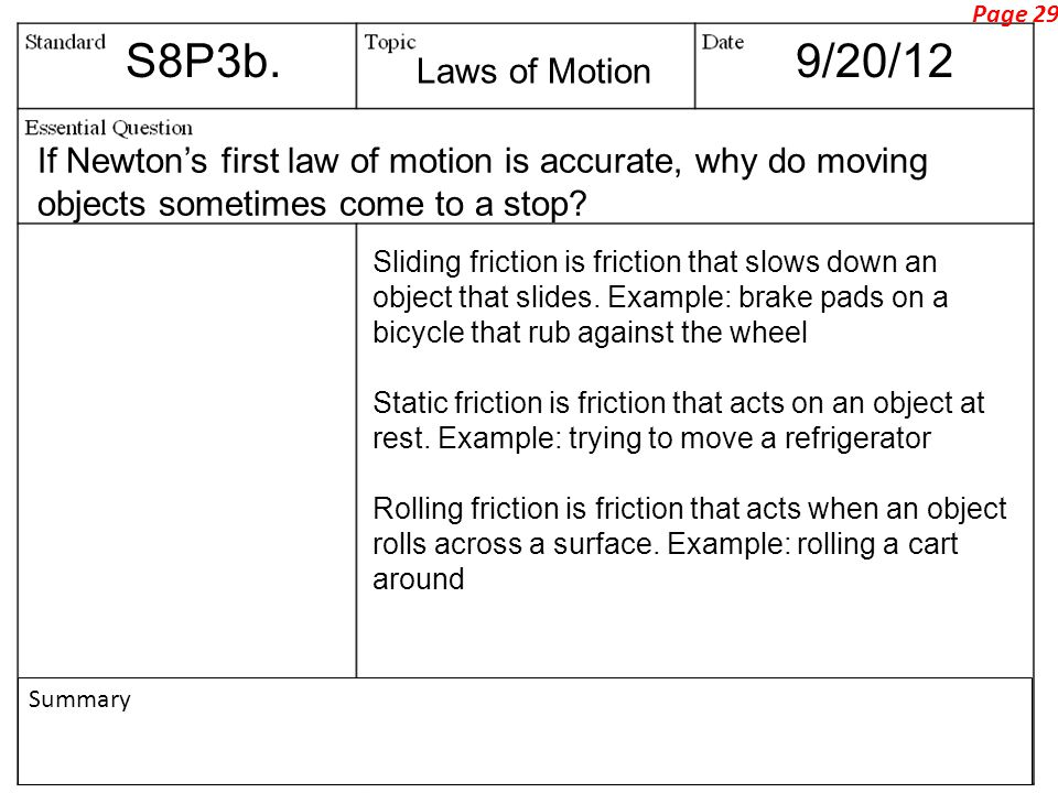 S8P3b.9/20/12 If Newton's first law of motion is accurate, why do moving objects sometimes come to a stop.