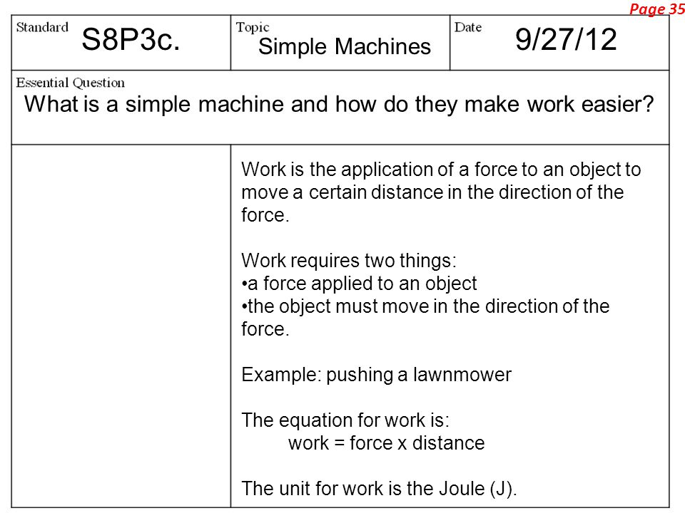 S8P3c.9/27/12 What is a simple machine and how do they make work easier.
