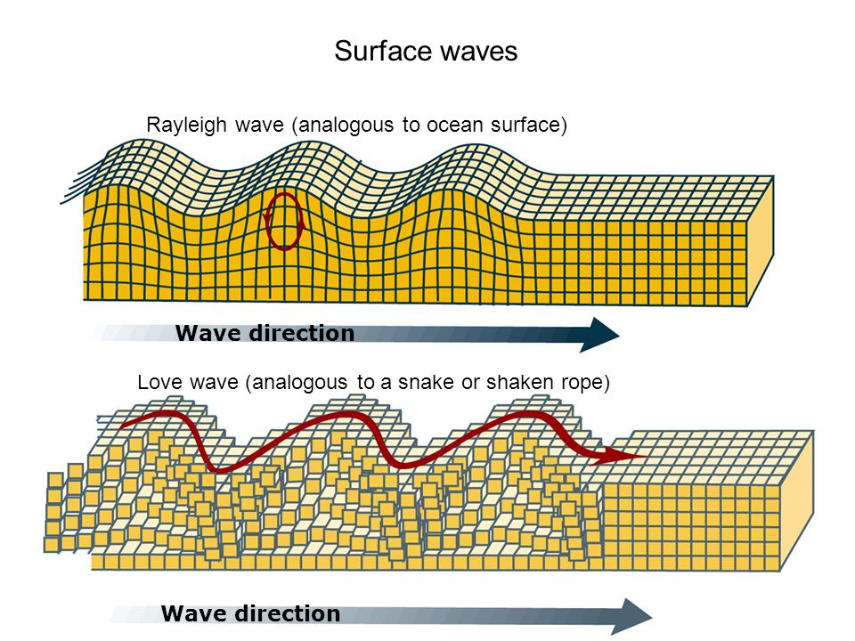 Wave direction Love wave (analogous to a snake or shaken rope) Rayleigh wave (analogous to ocean surface) Wave direction Surface waves
