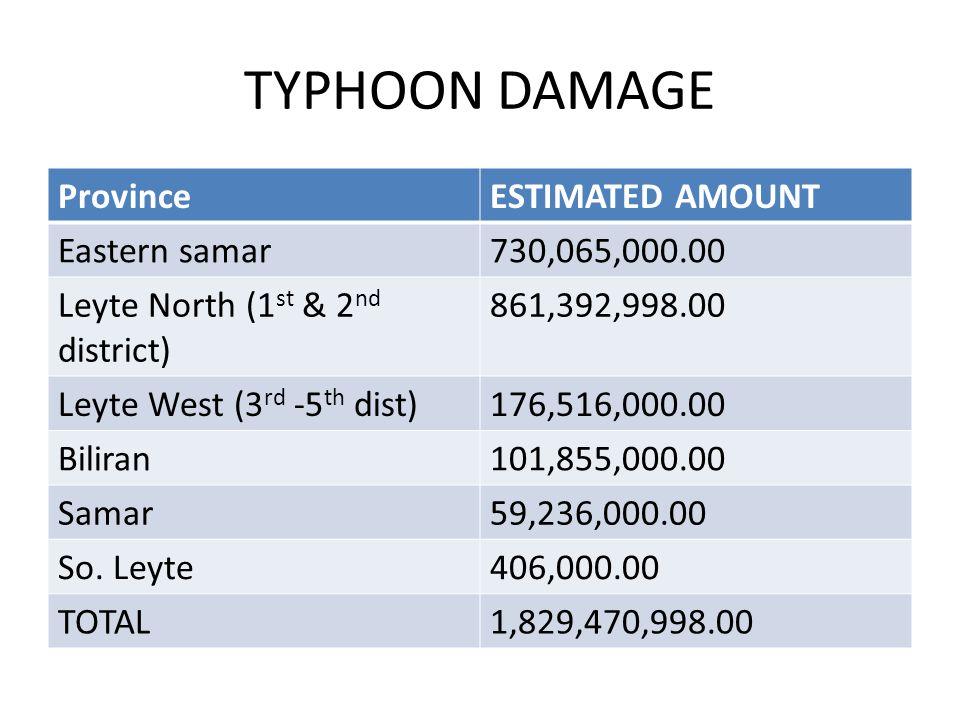 TYPHOON DAMAGE ProvinceESTIMATED AMOUNT Eastern samar730,065,000.00 Leyte North (1 st & 2 nd district) 861,392,998.00 Leyte West (3 rd -5 th dist)176,516,000.00 Biliran101,855,000.00 Samar59,236,000.00 So.