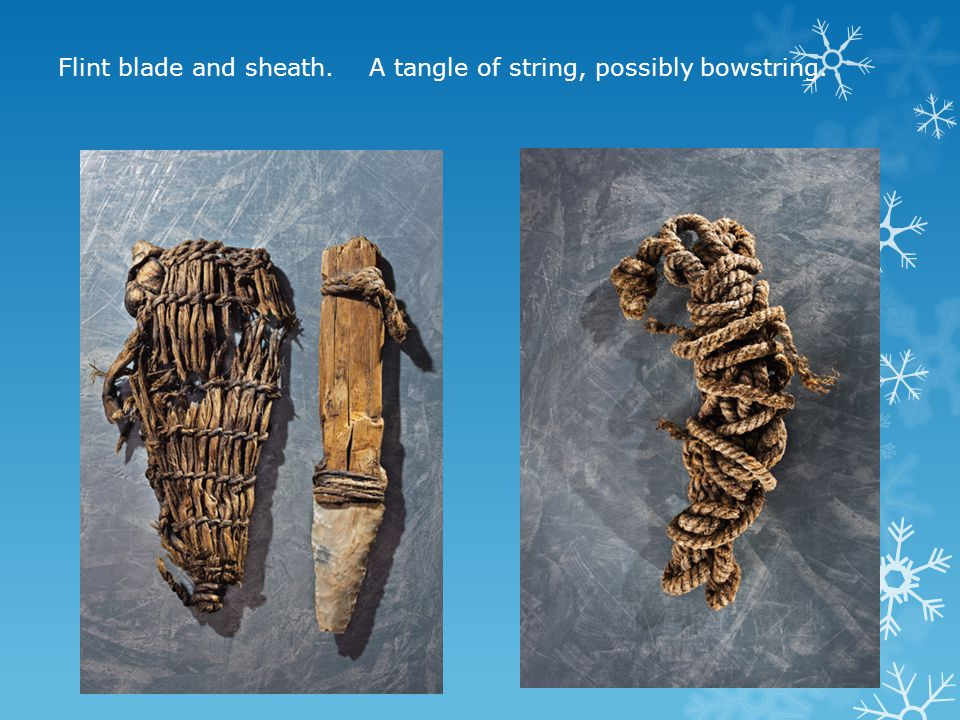 Flint blade and sheath. A tangle of string, possibly bowstring.