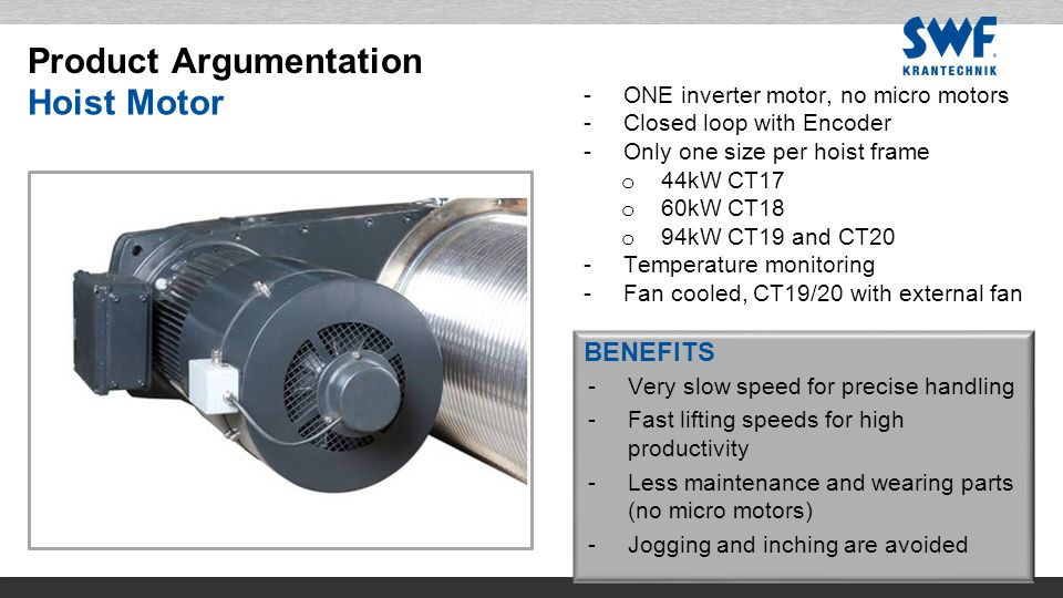 BENEFITS -ONE inverter motor, no micro motors -Closed loop with Encoder -Only one size per hoist frame o 44kW CT17 o 60kW CT18 o 94kW CT19 and CT20 -Temperature monitoring -Fan cooled, CT19/20 with external fan -Very slow speed for precise handling -Fast lifting speeds for high productivity -Less maintenance and wearing parts (no micro motors) -Jogging and inching are avoided Hoist Motor Product Argumentation