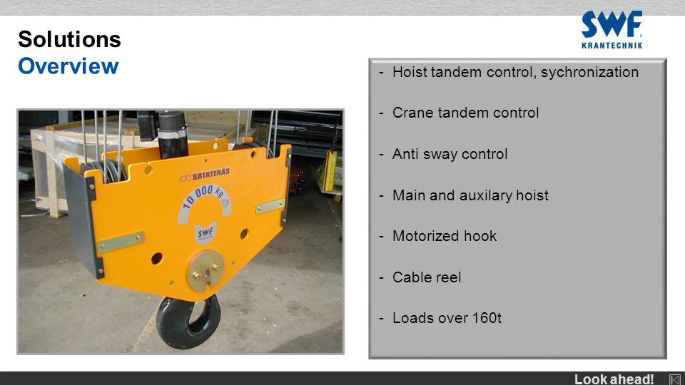 Look ahead! -Hoist tandem control, sychronization -Crane tandem control -Anti sway control -Main and auxilary hoist -Motorized hook -Cable reel -Loads