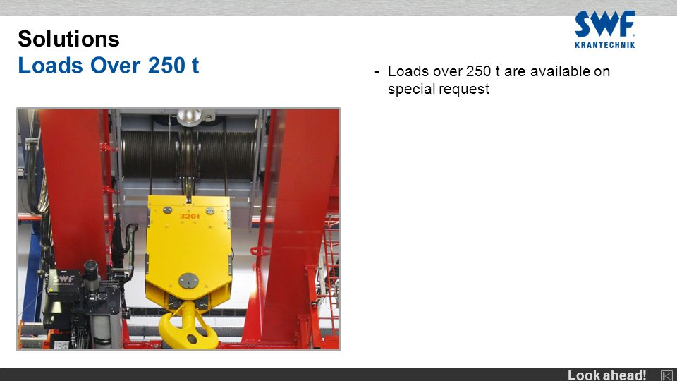 Look ahead! -Loads over 250 t are available on special request Solutions Loads Over 250 t