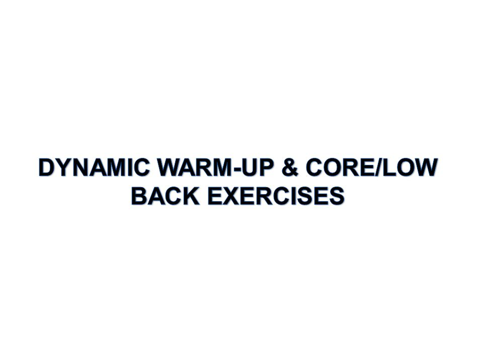 BEFORE YOU BEGIN YOUR LIFTING OR CONDITIONING SESSION: COMPLETE THE DESIGNATED WARM-UP PLUS TWO CORE EXERCISES FROM COLUMN ONE, ONE CORE EXERCISE FROM COLUMN 2, AND ONE LOWER BACK EXERCISE FROM COLUMN THREE.