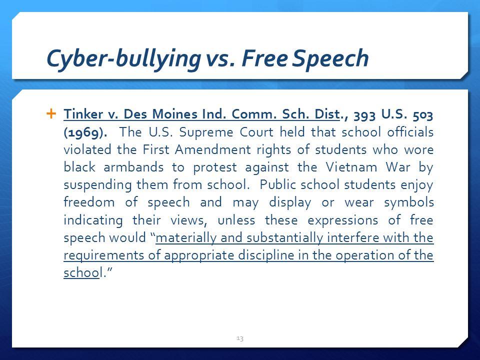 Cyber-bullying vs. Free Speech  Tinker v. Des Moines Ind.