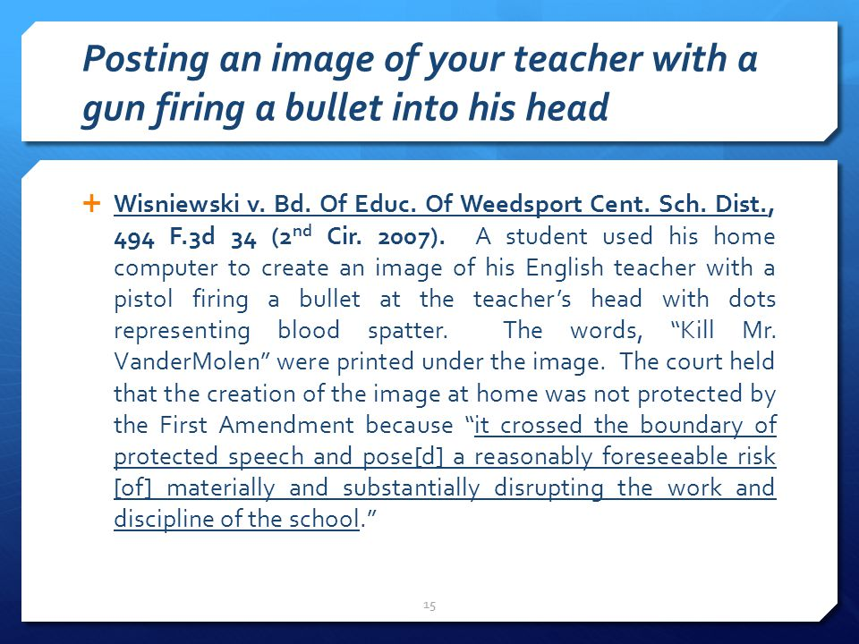 Posting an image of your teacher with a gun firing a bullet into his head  Wisniewski v.