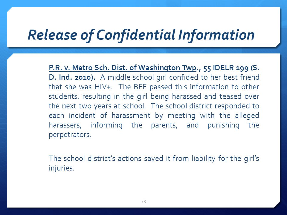 Release of Confidential Information P.R.v. Metro Sch.