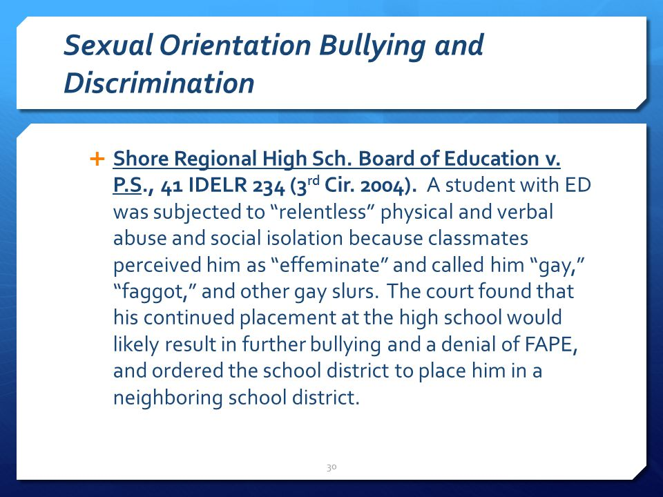 Sexual Orientation Bullying and Discrimination  Shore Regional High Sch.
