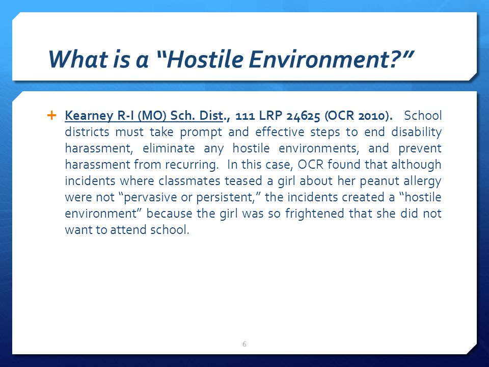 What is a Hostile Environment  Kearney R-I (MO) Sch.