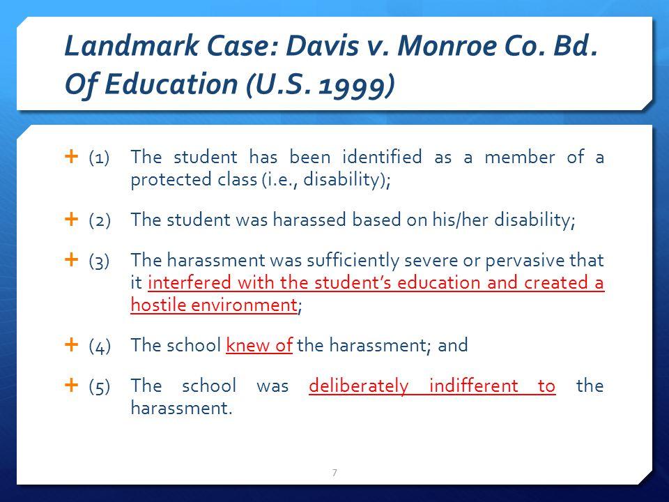 Landmark Case: Davis v. Monroe Co. Bd. Of Education (U.S.