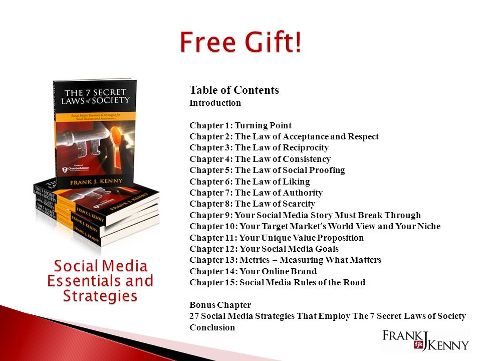 Table of Contents Introduction Chapter 1: Turning Point Chapter 2: The Law of Acceptance and Respect Chapter 3: The Law of Reciprocity Chapter 4: The