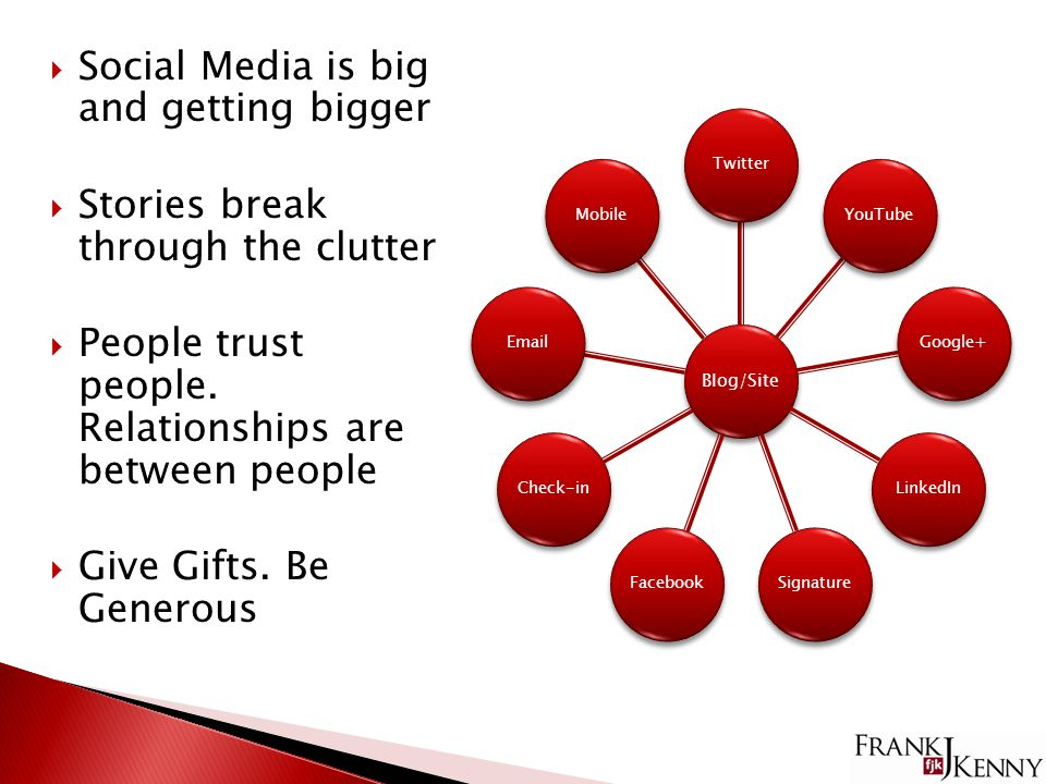  Social Media is big and getting bigger  Stories break through the clutter  People trust people.