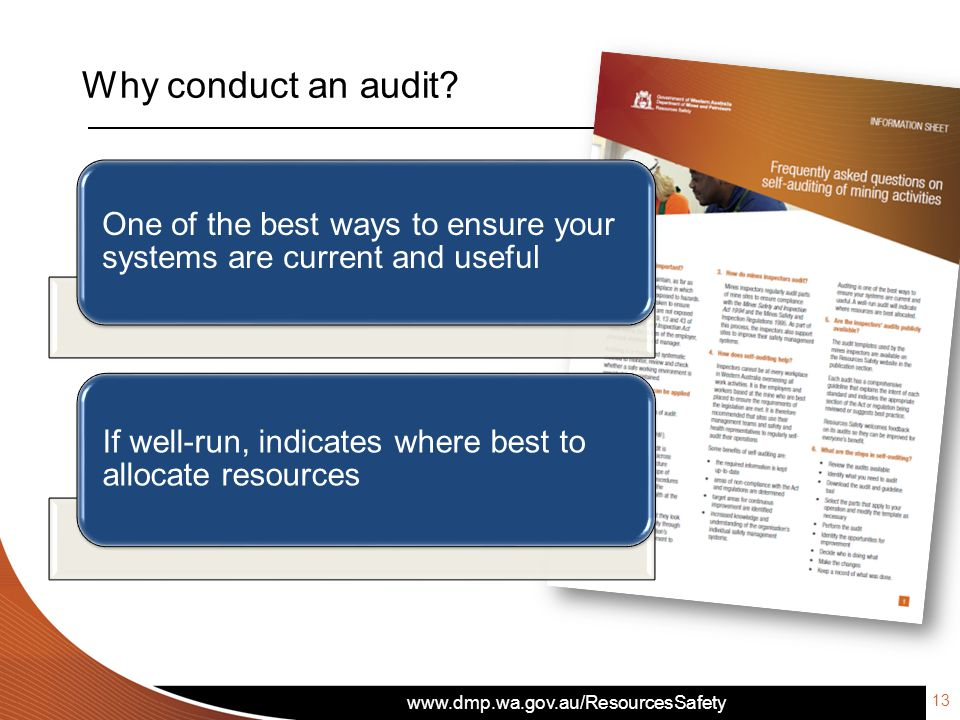 www.dmp.wa.gov.au/ResourcesSafety Why conduct an audit .