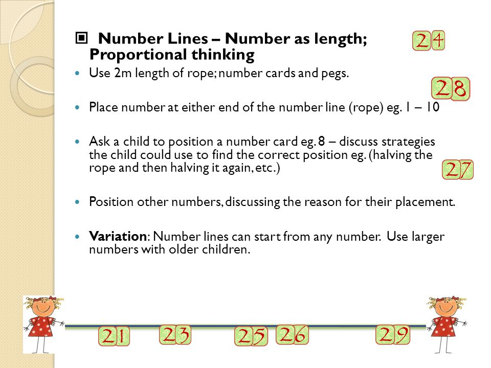 Number Lines – Number as length; Proportional thinking Use 2m length of rope; number cards and pegs.