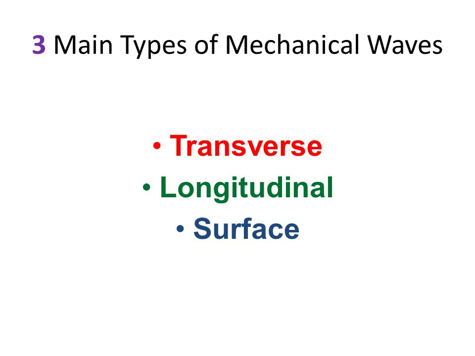 3 Main Types of Mechanical Waves Transverse Longitudinal Surface