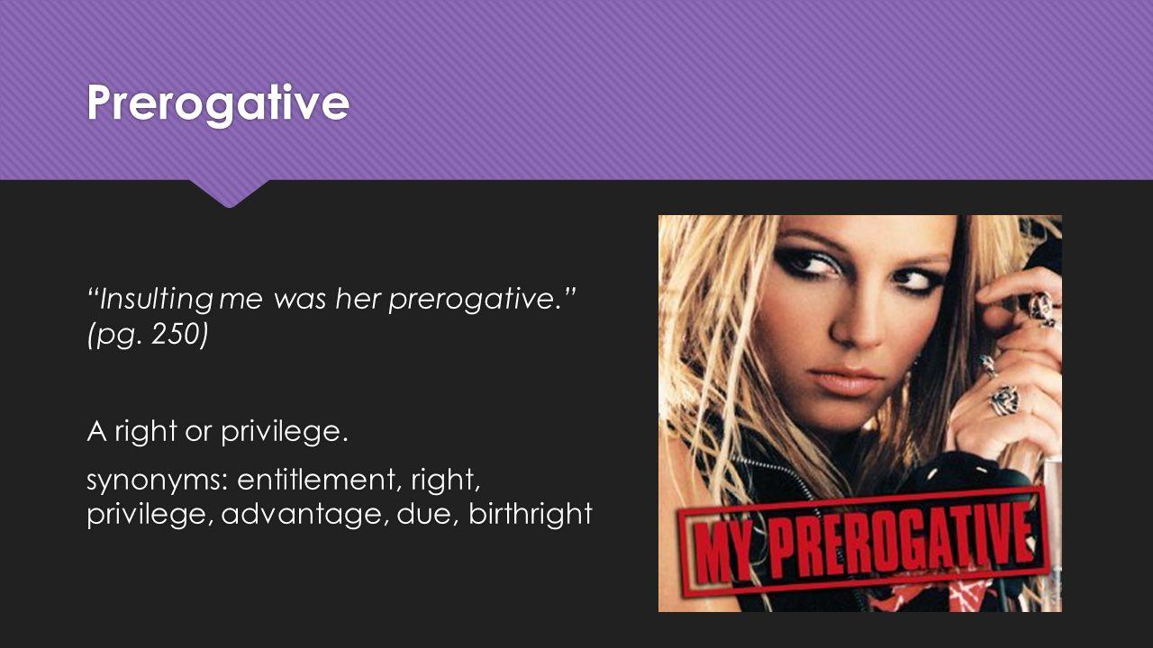 Prerogative Insulting me was her prerogative. (pg.