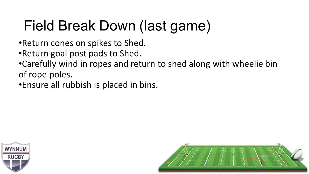 Field Break Down (last game) Return cones on spikes to Shed.